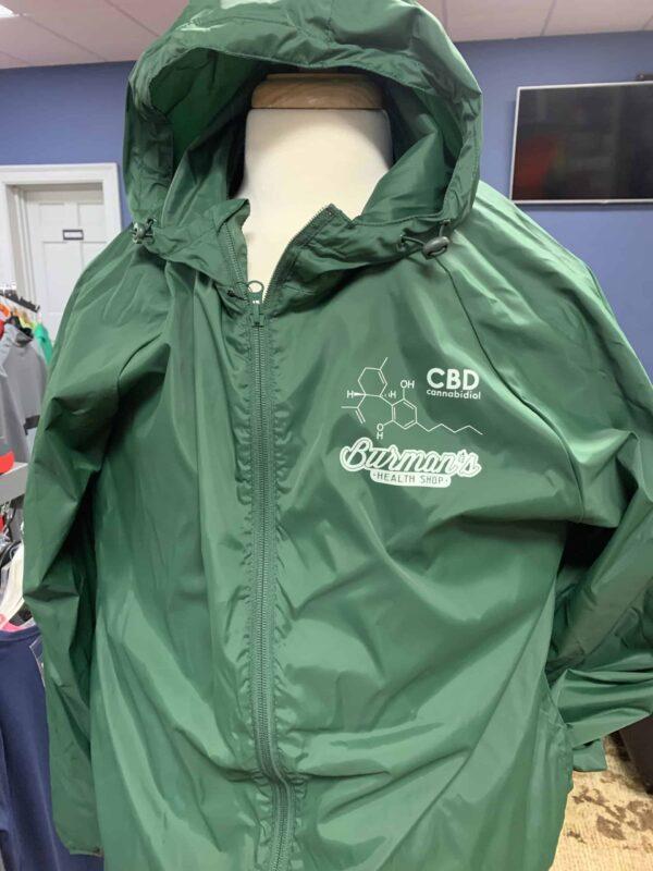 Burman's CBD WindBreaker green hoodie